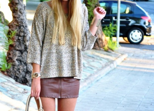 Sweater: grey, knit, short sleeve, skirt, brown, leather, zip ...