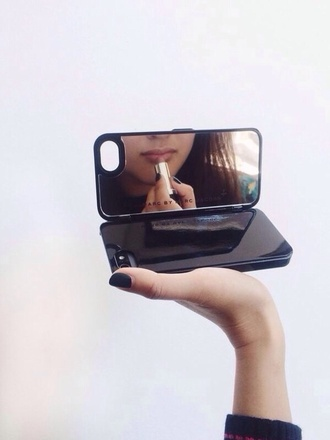phone cover mirror black flip out hard case iphone iphone case