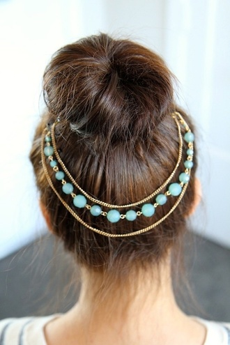 jewels headband beaded gold headpiece art bun hair accessories blue girl head hair accessory head jewels gold chain hair clip jewelry pretty classy beautiful