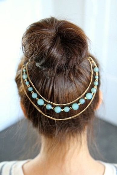 jewels hair clip hair accessory headband beads head jewels gold chain jewelry pretty classy beautiful hair gold headpiece art bun accessories blue girl head