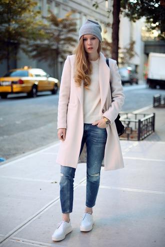 sweater jeans shoes coat hat bag jewels