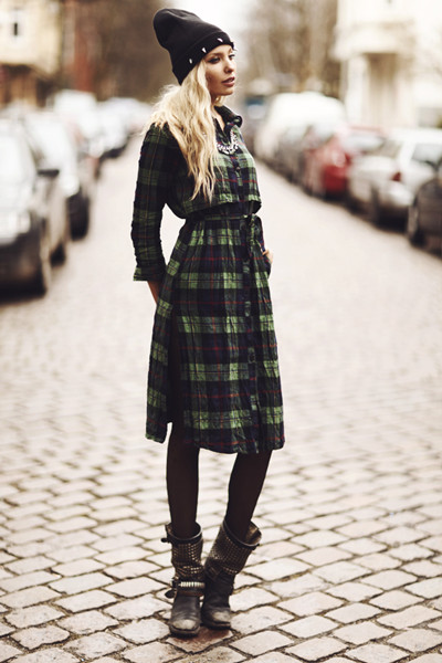 Green Plaid Maxi Shirt Dress with PU Collar and Epaulet | Choies