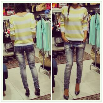 bag streetwear streetstyle street fashion blouse stripes stiped top yellow white white blouse yellow top yellow blouse jeans shoes blue blue shoes heels blue heels