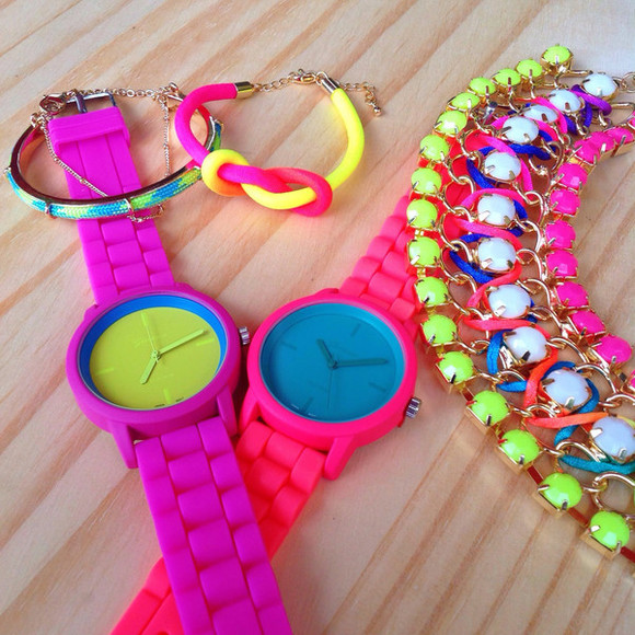 jewels blue knot necklace watch bracelets silicone neon yellow purple pink green gems sparkle