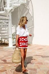 skirt,summer,red,white,embroidered,blouse,white dress,white blouse,midi skirt