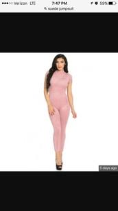 jumpsuit,suede jumpsuit,sexy jumpsuit,suede,sexy,bodycon,blush pink