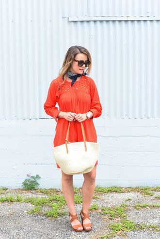 live more beautifully blogger dress jewels bag shoes sunglasses make-up eyelet dress orange dress summer dress summer outfits nude bag sandals sandal heels high heel sandals brown sandals bandana eyelet detail