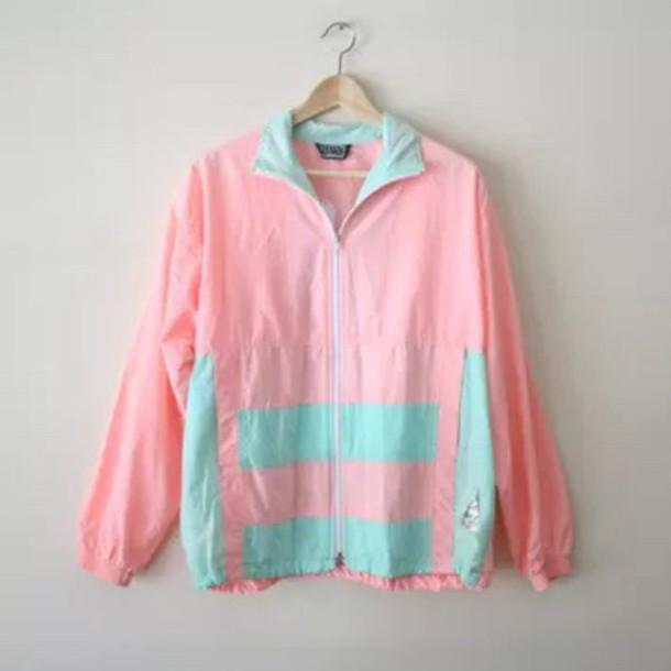 Jacket Pink Blue Cute Tumblr Aesthetic Pastel Pastel Pink Pastel Blue Windbreaker Zip Kawaii Cute Jacket Wheretoget