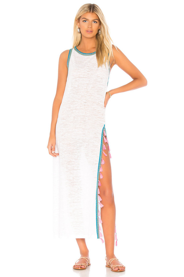 Pitusa Tassel Slit Dress in white