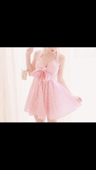 dress pink gingham halter neck
