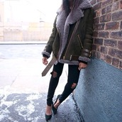 coat,fur,shearling,suede,leather,ripped jeans,jacket