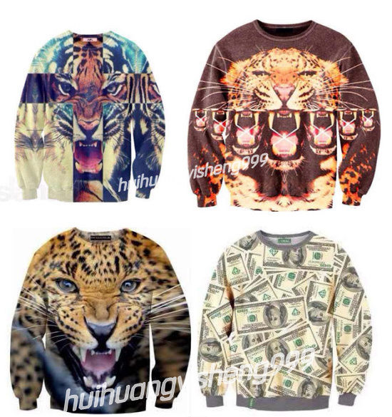 Newest Fashion Unisex Poland 3D Animals Leopard,Tiger,Dollar Sweatshirt T-shirt | eBay