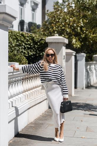 top tumblr stripes striped sweater skirt midi skirt white skirt shoes white shoes sunglasses bag black bag pumps