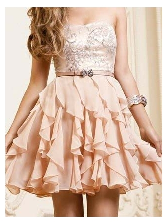 A-line Chiffon Ruffles Sweetheart Short Prom Dress [E0036] - $192.00 : 24inshop