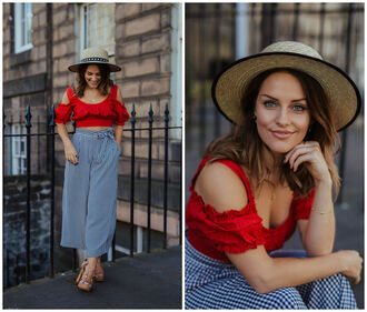 thelittlemagpie blogger top pants hat shoes crop tops red top sandals gingham summer outfits