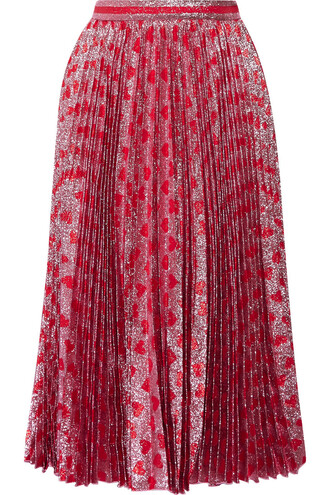 skirt pleated pink red
