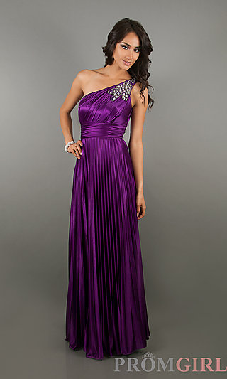 One Shoulder Prom Gowns, One Shoulder Purple Long Dress- PromGirl