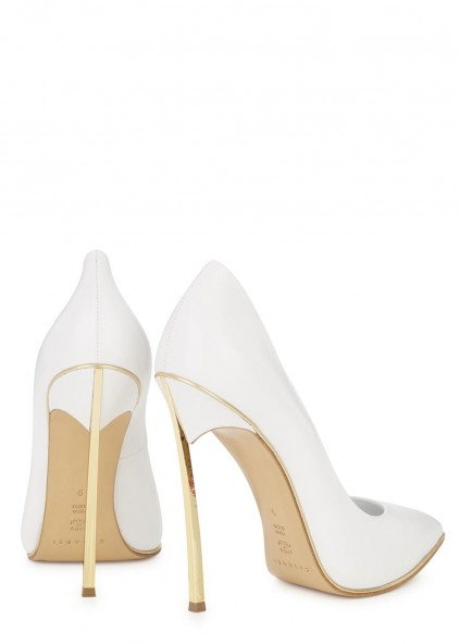Blade white pointed leather pumps