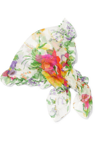 scarf floral white print silk