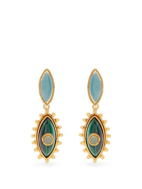 Sylvia Toledano earrings gold green jewels