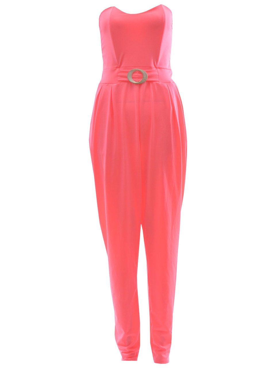 Eneco Bandeau Style Jumpsuit In Neon Pink