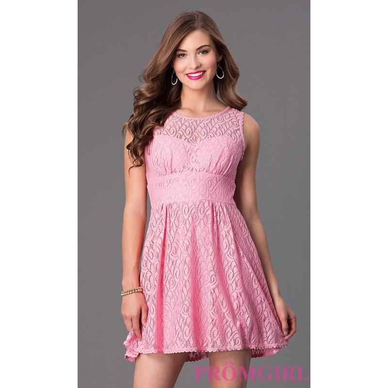 Darlin Short Scoop Neck Sleeveless Lace Dress - Discount Evening ...
