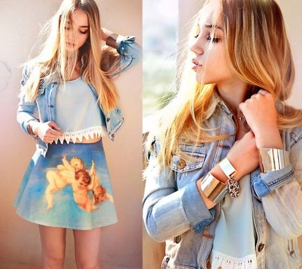 skirt aksinya air vintage print skirt top tank top bracelets denim jacket jacket jewels ukraine