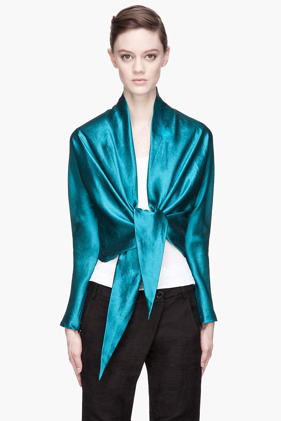 Damir doma deep teal silk tie_waist soe blouse