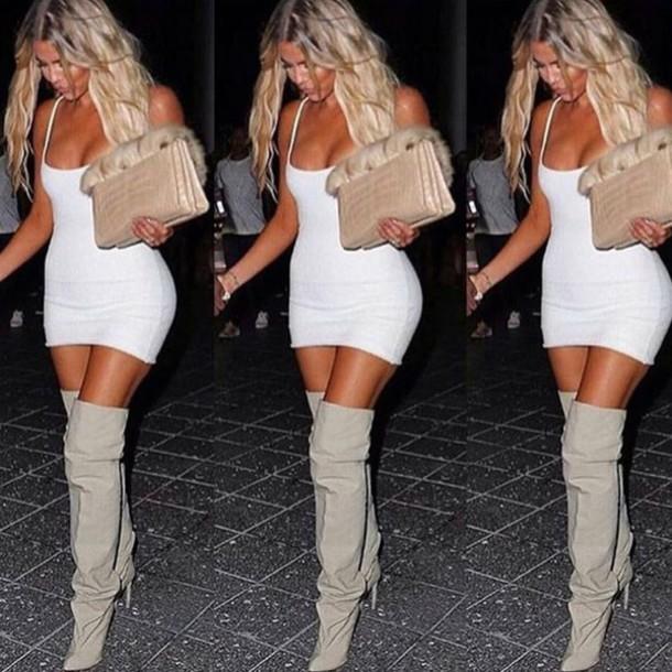 Dress khloe kardashian bodycon dress white dress for How to dress like khloe kardashian