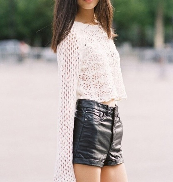 white top shorts high waisted leather short