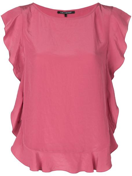 Luisa Cerano blouse pleated women purple pink top