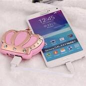 phone charger,crown,princess,gold,pink,iphone portable charger,phone cover,portable charger