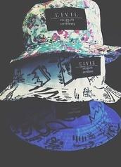 hat,pattern,bucket hat,cool,civil