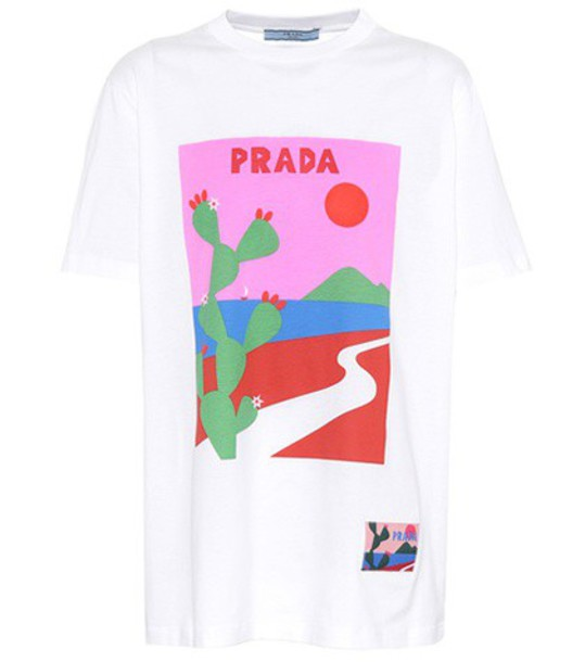 Prada t-shirt shirt printed t-shirt t-shirt white top