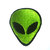 Retro Alien Patch, Embroidered Alien, Iron on Alien or Sew on Alien, Green Or White.