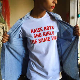 t-shirt girl guys raise boys shirt feminism feminist clothes fashion lgbt sexy love style trendy summer top cool quote on it saying graphic tee funny raise boys and girls the same way stylish crewneck shirts with sayings style me white