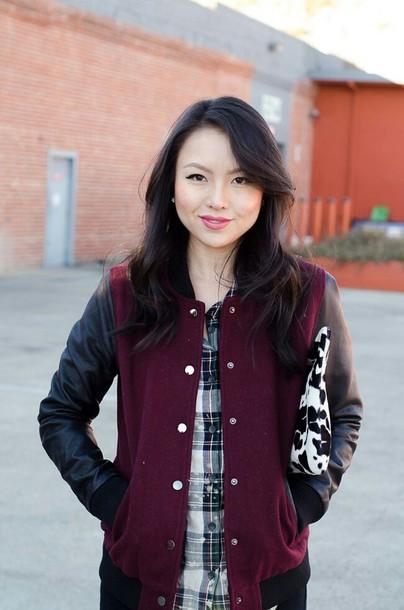 jacket black leather jacket red felpa