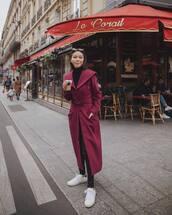 coat,wool coat,white sneakers,turtleneck,pants,leather pants
