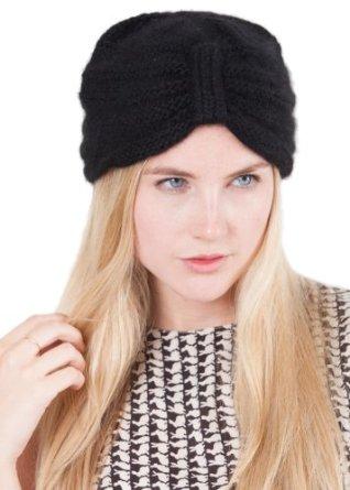 Amazon.com: Merino Angora Knitted Turban Hat Black: Clothing