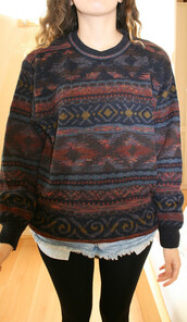 sweater,jumper,aztec,winter outfits,oversized