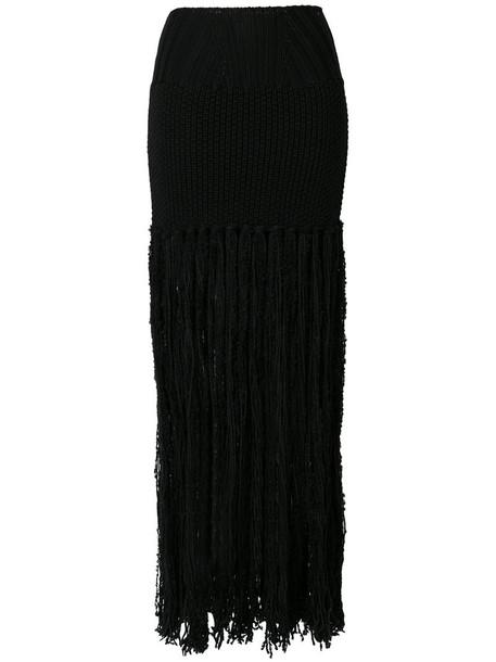 Balmain - fringed knitted maxi skirt - women - Virgin Wool/Alpaca/Wool/Polyamide - 36, Black, Virgin Wool/Alpaca/Wool/Polyamide