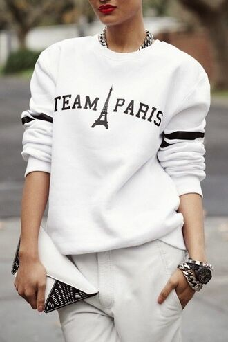 sweater white hoodie sweatshirt team paris paris white sweater fashion eiffel tower long sleeves shirt quote on it blouse team black watch red lips paris fashion week bracelets trouser jewels