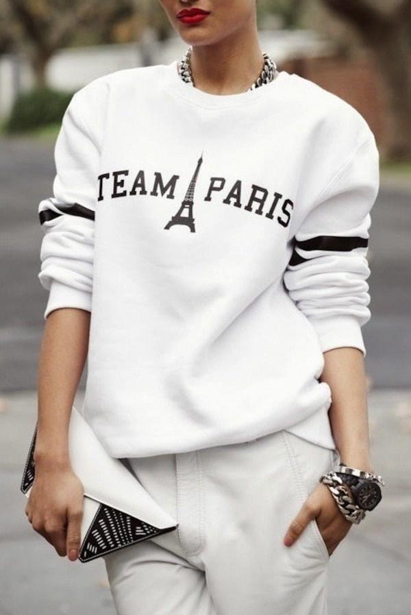 sweater white hoodie sweatshirt team paris paris white sweater fashion eiffel tower long sleeves blouse