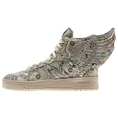 shoes,men's adidas,money shoes,money,jeremy scott,adidas jeremy scott,wings 2.0,adidas,adidas wings,sneakers,high top sneakers