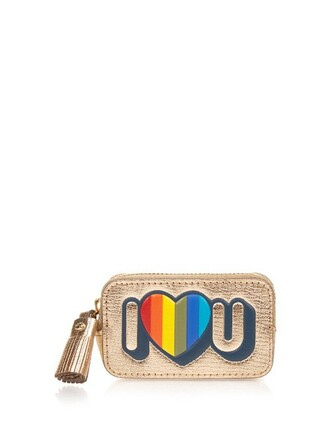love purse leather gold bag