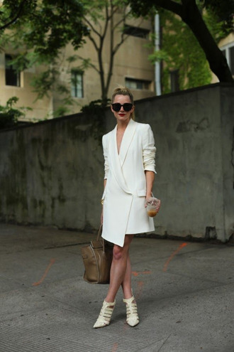dress all white outfit all white everything white dress blazer dress bag khaki bag sandals white sandals strappy sandals spring outfits sunglasses black sunglasses