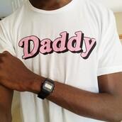 shirt,daddy,white,pink,t-shirt
