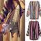 Women boho ethnic rainbow weave stripe knit v neck sweater cardigan | ebay
