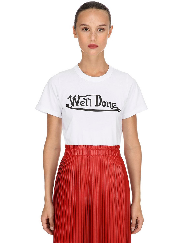 WE11 DONE Slim Fit Logo Printed Jersey T-shirt in white