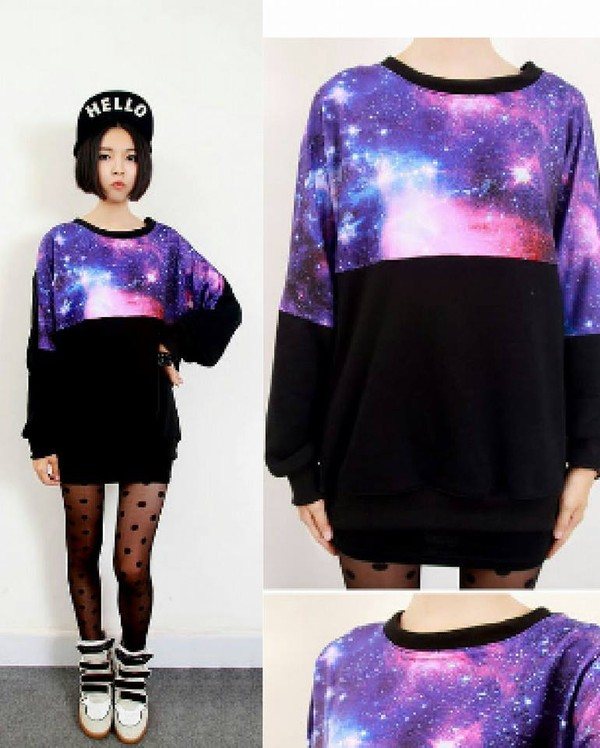 sweater oversized sweater galaxy print black violet